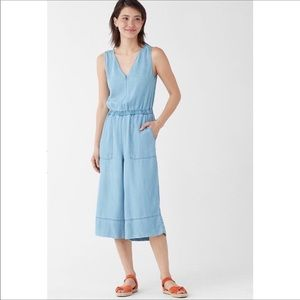 NWT Splendid Chambray Wide Leg Linen Slub Jumpsuit